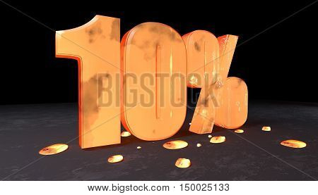 Number Discount Of Ten Percent Made With Incandescent Metal