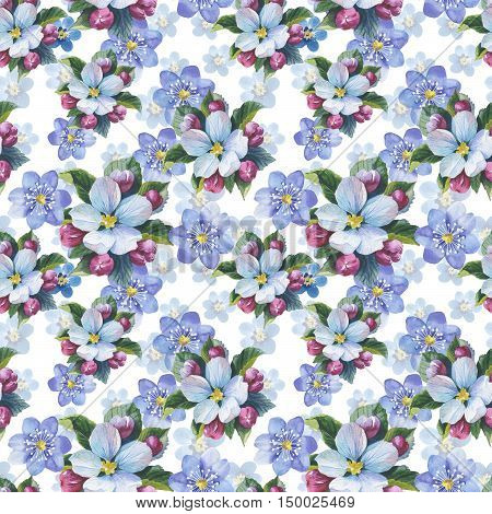 Wildflower myosotis flower pattern in a watercolor style isolated. Full name of the plant: forgetmenot, myosotis. Aquarelle flower could be used for background, texture, pattern, frame or border.