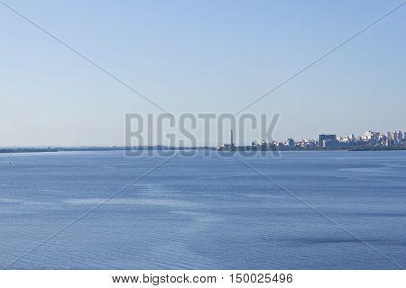 Porto Alegre Downtown View With Blue Sky