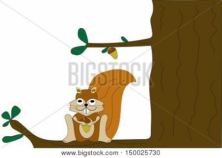 Cartoon caricature squirrel holding acorn sitting in a tree.