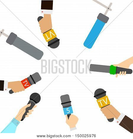 Journalists with microphones on white background. Breaking news concept. TV and radio broadcasting. Live.