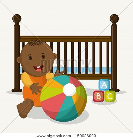 Baby boy cartoon and cradle icon. Baby shower and childhood theme. Isolated and colorful design. Vector illustration
