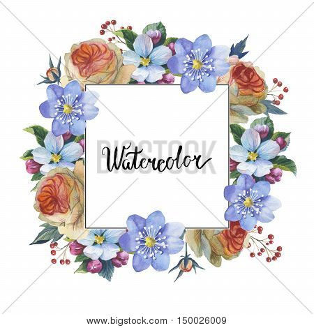 Wildflower myosotis flower frame in a watercolor style isolated. Full name of the plant: forgetmenot, myosotis. Aquarelle flower could be used for background, texture, pattern, frame or border.