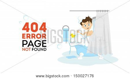 Oops, page not found concept. Funny cartoon man in the bathroom washing in the bath tub. 404 error.