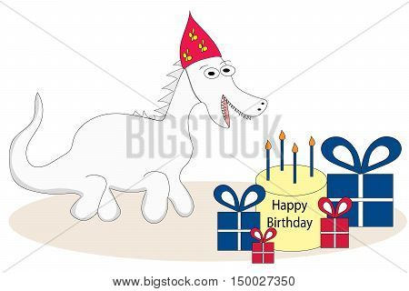 Cartoon caricature dragon with red party hat birthday cake and presents.