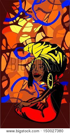 Stylized image of an adult African woman ethnic background