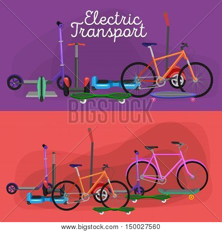 isolated electric scooter with power battery, one and two-wheeled mobility electric vehicle vector illustration, Eco alternative city transport. Flat biking and rolling wheels, kick scooter collection