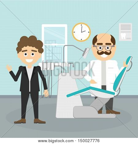 Dentist with patient. Smiling dentist with moustache with funny patient at dental cabinet. Dental care and hygiene.
