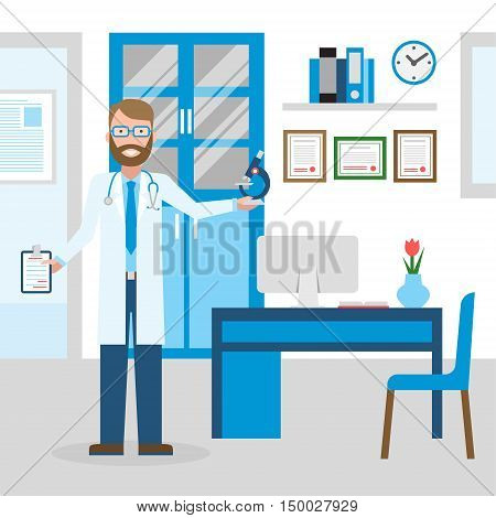 Doctor in the cabinet. Funny smiling male doctor in the medical cabinet. Medical treatment, first aid.
