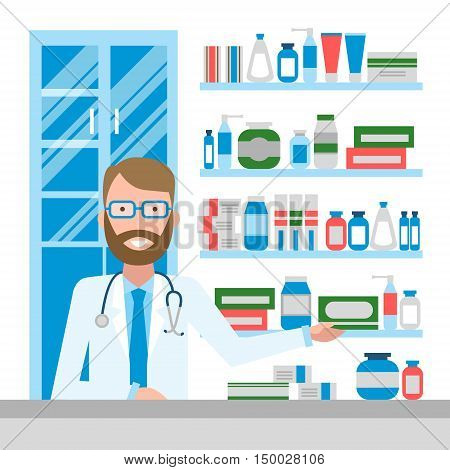Pharmacist in drug store. Pharmacist in drug store. Handsome smiling man in white sitting near shelf with medication. Man in glasses.