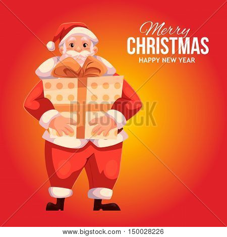 Cartoon style Santa Claus holding a big gift box, Christmas vector greeting card. Full length portrait of Santa holding a large present box on red background, greeting card template for Christmas eve