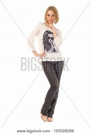 Girl Standing In Black Leather Pants In Studio