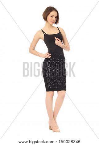 Fashion Model Dressed In Tight Black Skirt Isolated On White