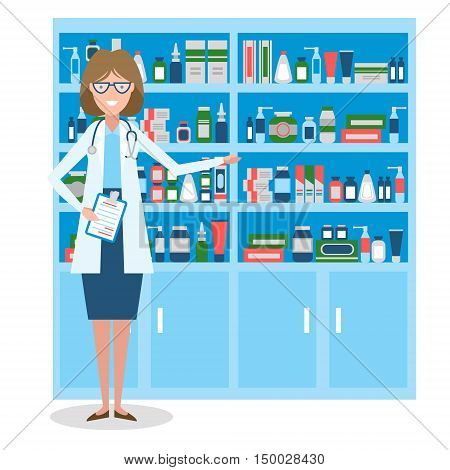 Pharmacist in drug store. Beautiful smiling woman in white standing near shelf with medication. Woman in glasses.