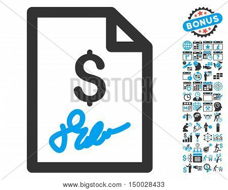 Invoice Page icon with bonus calendar and time management images. Vector illustration style is flat iconic bicolor symbols, blue and gray colors, white background.