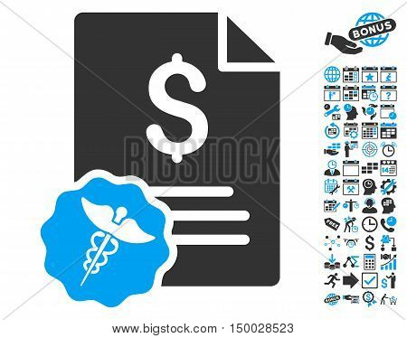 Medical Invoice icon with bonus calendar and time management clip art. Vector illustration style is flat iconic bicolor symbols, blue and gray colors, white background.