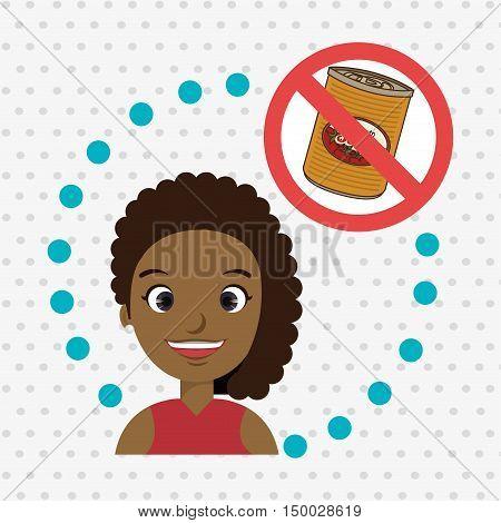 cartoon child girl fast food danger symbol vector illustration