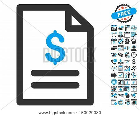 Price List pictograph with bonus calendar and time management symbols. Vector illustration style is flat iconic bicolor symbols, blue and gray colors, white background.
