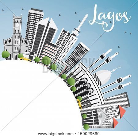 Lagos Skyline with Gray Buildings, Blue Sky and Copy Space. Vector Illustration. Business Travel and Tourism Concept with Modern Architecture. Image for Presentation Banner Placard and Web Site.