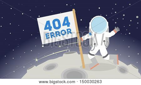 404 error page not found. Astronaut in outer space on the moon. Concept of zer service, lost connection.