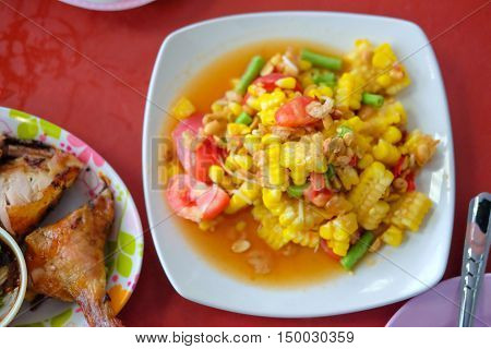 Famous Thai food Som Tum - papaya salad with corn spicy Thai food