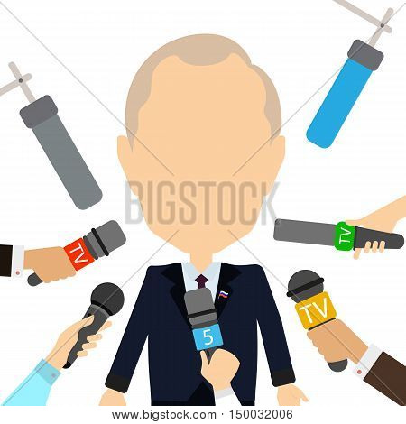 Russian president interview. Isolated cartoon character on white background. Russian government. News reporters with microphones. Giving interview.