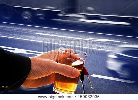 hard drinker with liqueur glass and going cars
