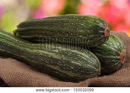 green zucchini or courgettes on sackcloth with a blurred background.
