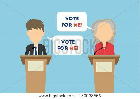 Debates on election. Two speaker on tribunes. Vote for me. Concept of voting, ellection and balloting. Election campaign.