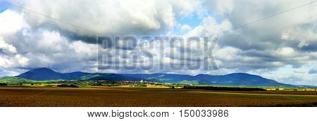 Beautiful Colorful Rural Landscape With Contrast Areas Of Light And Shadows
