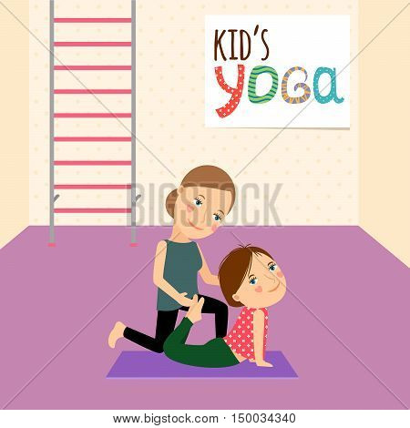 Kids Yoga with Instructor cartoon vector illustration