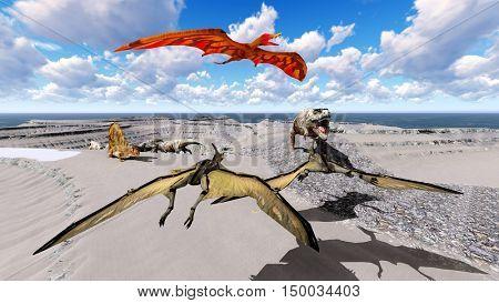 Dinosaurs living on the beach 3d illustration