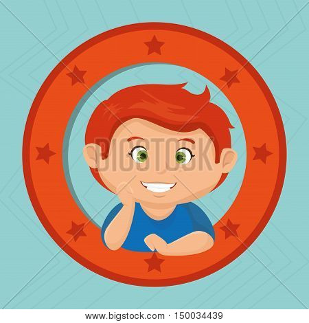 icon cartoon child boy happy vector illustration eps 10