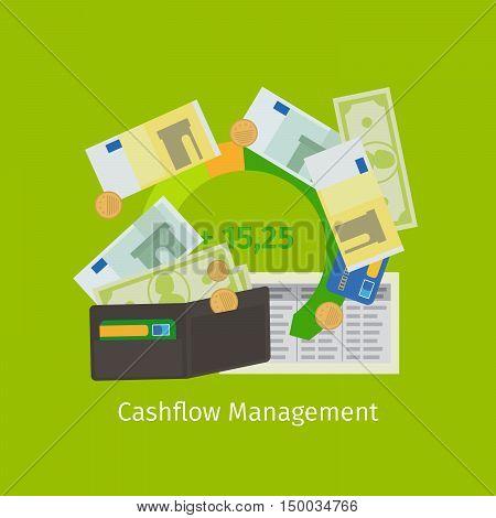 Cashflow management cartoon flat icon. Vector illustration