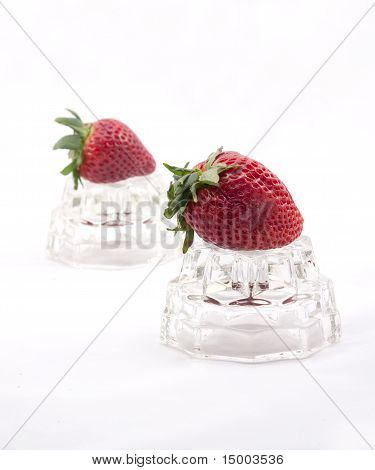 Strawberries Against White.