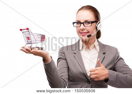 Businesswoman in telesales concept isolated on white