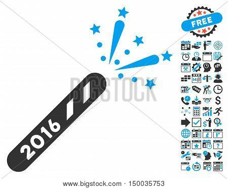 2016 Firecracker pictograph with bonus calendar and time management clip art. Vector illustration style is flat iconic bicolor symbols, blue and gray colors, white background.