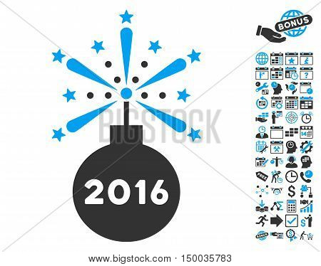 2016 Fireworks Detonator pictograph with bonus calendar and time management design elements. Vector illustration style is flat iconic bicolor symbols, blue and gray colors, white background.