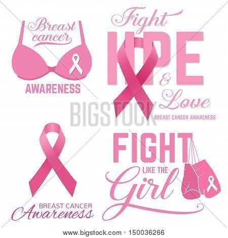 Set Of Breast Cancer Awareness Pink Card.