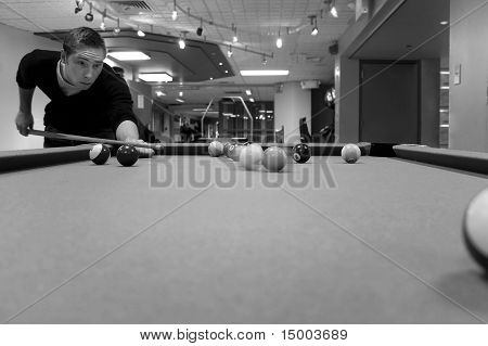 Pool Player Shooting
