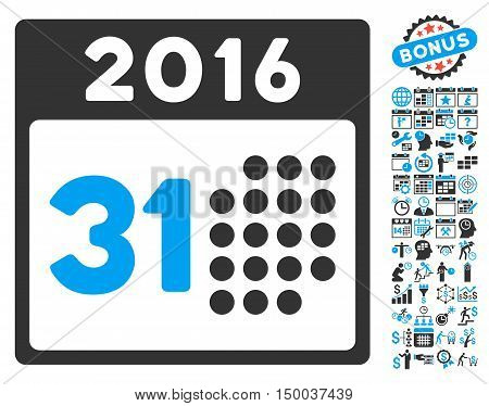 Last 2016 Month Day icon with bonus calendar and time management pictures. Vector illustration style is flat iconic bicolor symbols, blue and gray colors, white background.