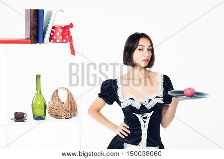 Woman Housemaid With Apple