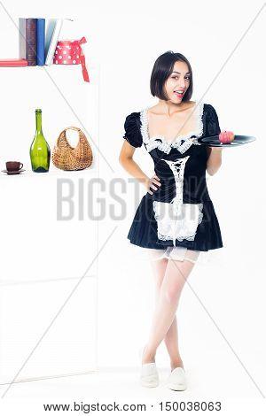 Girl Housemaid With Apple