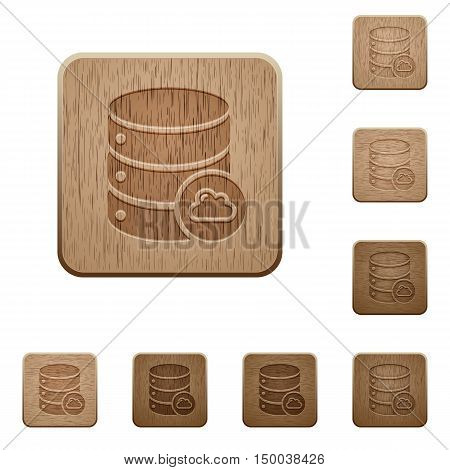 Set of carved wooden Cloud database buttons in 8 variations.