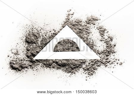 Geometry triangle blank space in a organic ash sand dust pile