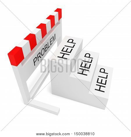Hurdle Problem And Help Steps 3d illustration on a white background