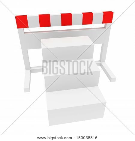 Stairs In Front of A Hurdle 3d illustration