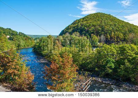 The Lehigh River as it passes through scenic Jim Thorpe Pennsylvania.