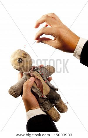 Photo Of Businessman Making Voodoo To Co-worker