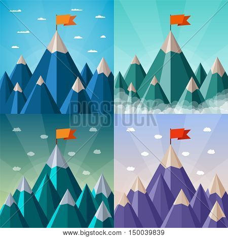 Vector Success And Leadership Concepts Set With Mountain Landscape